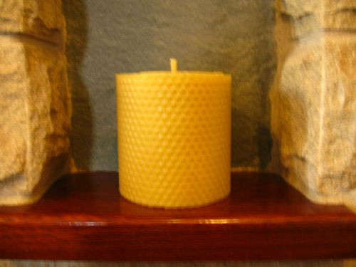 Pure Beeswax Rolled Pillar Candle 3.5in x3.5in (Free Shipping UK)